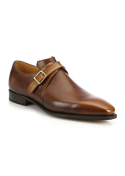 "Image of EXCLUSIVELY AT SAKS FIFTH AVENUE. The Arca Buckle is an elegant, modern monkstrap on the Corthay ""Pullman"" last (equivilent to a D width).Center cut French leather upper. Brass buckle. Leather lining. Brown piping. Padded insole. Goodyear welted construct"