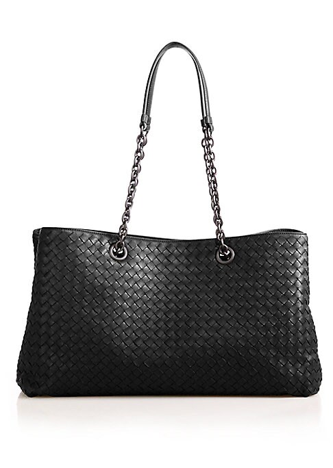 """Image of An elegant top-handle bag impeccably crafted of Italian nappa leather and woven into Bottega Veneta's iconic Intrecciato design, its look finished with chain handles in beautiful matte metal. .Double top handles, 11.5"""" drop. Double snap top closure. Gunme"""