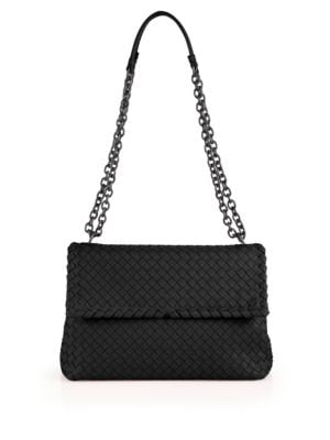 Olimpia Medium Intrecciato Leather Shoulder Bag, Black