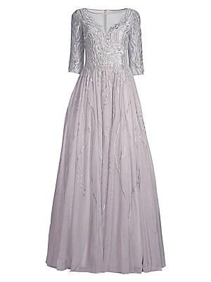 3a7e1d649fc Basix Black Label - Floral Appliqué Gown - saks.com