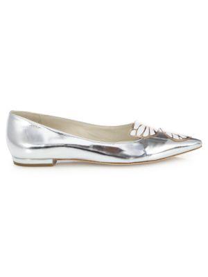 Anne Michelle Ladies Flat Metallic Toe Cap Ballerina Shoes