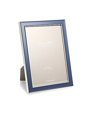 """Image of A refreshingly-hued enamel inlay is sure to highlight your favorite photo on this frame that can be displayed in both portrait and landscape orientation. Small: Accommodates a 4"""" X 6"""" photo Overall: 6""""W X 8""""H X 1""""D Large: Accommodates a 5"""" X 7"""" photo Over"""