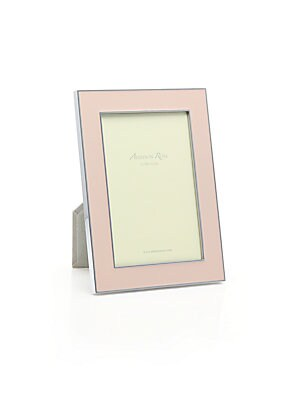 """Image of Smooth enamel lends a crisp finish to this photo frame that can be displayed portrait or landscape style. Small: Accommodates a 4"""" X 6"""" photo Overall: 5.5""""W X 7.5""""H X 1""""D Large: Accommodates a 5"""" X 7"""" photo Overall: 7""""W X 9""""H X 1""""D Silver-plated zinc allo"""