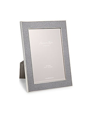 """Image of A luxurious grey faux-shagreen lends tactile dimension to this modern photo frame that is perfect for both black and white and color photos. Small: Accommodates a 4"""" X 6"""" photo Overall: 5.5""""W X 7.5""""H X 1""""D Large: Accommodates a 5"""" X 7"""" photo Overall: 7""""W"""