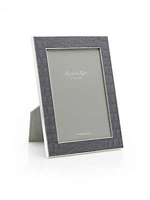 """Image of An elegant croc-embossed motif lends texture to a minimalist, modern photo frame perfect for the home or office. Small: Accommodates a 4"""" X 6"""" photo Overall: 5.5""""W X 7.5""""H X 1""""D Large: Accommodates a 5"""" X 7"""" photo Overall: 7""""W X 9""""H X 1""""D Silver-plated zi"""