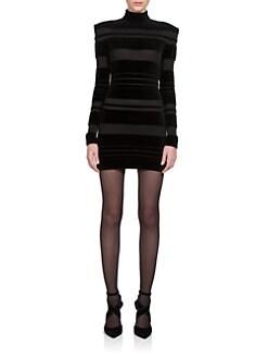 Balmain - Striped Velvet Mini Dress