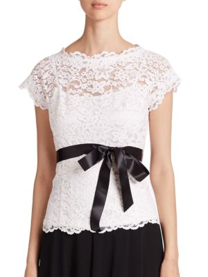 Lace Belted Blouse by Teri Jon by Rickie Freeman