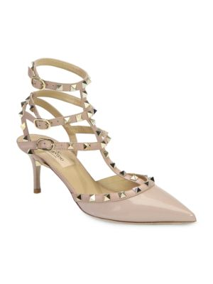 """Image of Iconic metal studs add street-style cool to this point-toe design in patent and smooth leather. Self-covered heel, 2.5"""" (65mm).Patent leather upper. Triple adjustable ankle straps. Leather lining and sole. Padded insole. Made in Italy."""