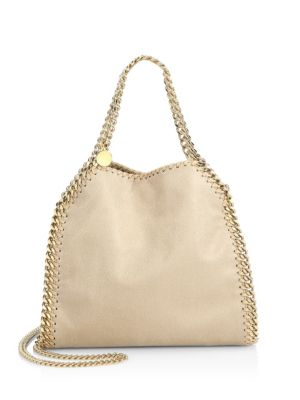 a045d8fd787c Stella Mccartney Falabella Mini Baby Bella Metallic Faux Suede Shoulder Bag  In Clotted Cream