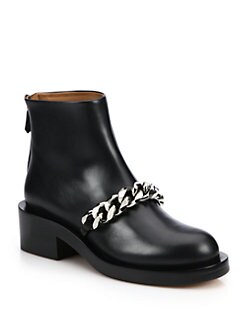 Givenchy - Chain-Trimmed Leather Booties