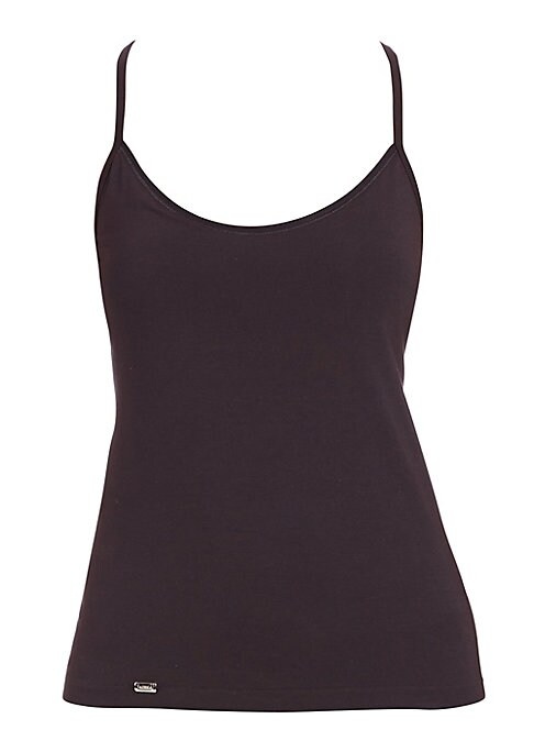 """Image of Seamless stretch-enhanced construction makes this soft tank an ideal underlayer and an effortless standalone essential. .Deep scoopneck. Spaghetti straps. Pullover style. About 24"""" from shoulder to hem. Cotton/modal/elastane. Machine wash. Imported."""