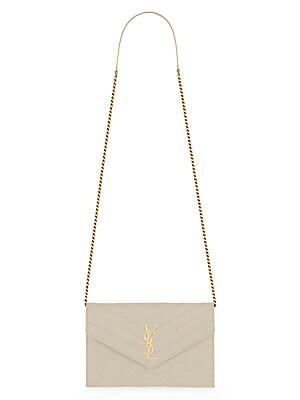 58bd25388f47 Saint Laurent - Small Monogram Mattelasse Leather Chain Wallet - saks.com