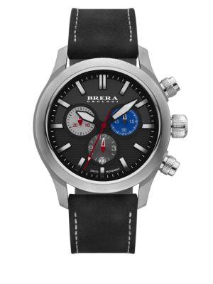 BRERA OROLOGI Eterno Chrono Stainless Steel & Leather Chronograph Strap Watch/Black in Black-Silver