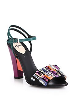Fendi - Bejeweled Colorblock Leather Sandals