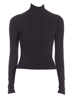 "Image of A back zipper lends a hint of edge to this of-the-moment turtleneck infused with a hint of stretch for the perfect fit. Turtleneck. Long sleeves. Exposed back zip. About 20"" from shoulder to hem. Polyester/rayon/elastane. Hand wash. Made in USA of importe"