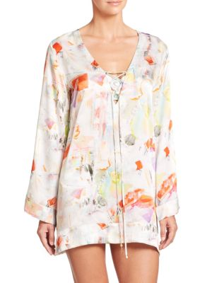 Serena Lace-Up Silk Caftan plus size,  plus size fashion plus size appare