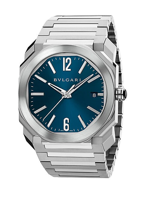"Image of From the Octo Collection. Bold geometric bracelet watch in polished steel. Mechanical movement with automatic winding. Water resistant to 10 ATM. Octagonal stainless steel case, 38mm (1.4"").Stainless steel bezel. Blue sunray and lacquered polished dial. B"