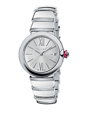 Image of From the LVCEA Collection. Elegant bracelet watch in polished stainless steel. Automatic movement Stainless steel bezel Silver guilloché dial Roman numeral and bar hour markers Date display at 3 o'clock Second hand Stainless steel bracelet Made in Switzer