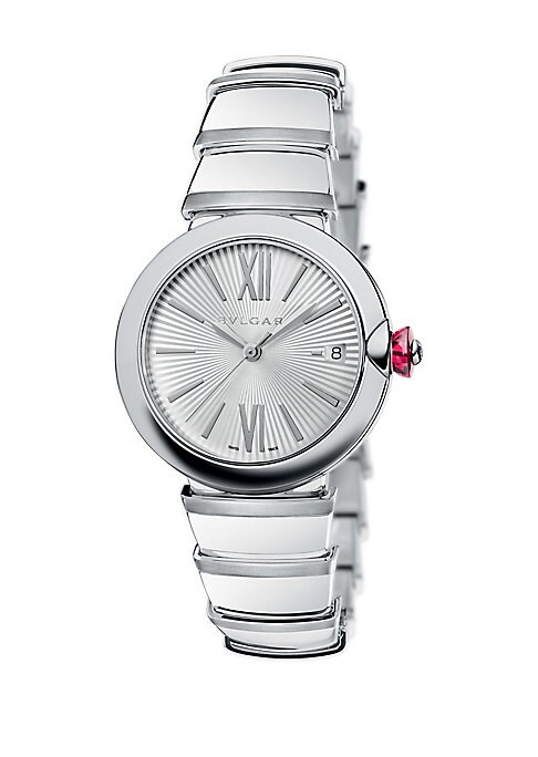 Image of From the LVCEA Collection. Elegant bracelet watch in polished stainless steel. Automatic movement. Stainless steel bezel. Silver guilloche dial. Roman numeral and bar hour markers. Date display at 3 o'clock. Second hand. Stainless steel bracelet. Made in
