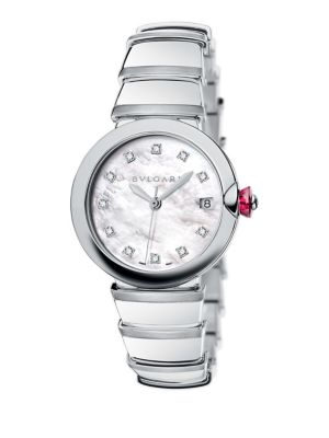 Bvlgari Lvcea Stainless Steel, Mother-Of-Pearl & Diamond Bracelet Watch In Silver