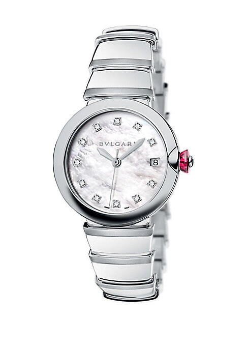 "Image of From the LVCEA Collection. Elegant watch with mother-of-pearl dial and diamond indexes. Mechanical movement with automatic winding. Water resistant to 5 ATM. Round polished stainless steel case, 36mm (1.4"").Stainless steel bezel. Mother-of-pearl dial. Dia"