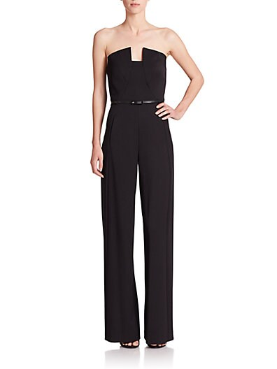 BLACK HALO Lena Strapless Wide-Leg Velvet Jumpsuit in Black