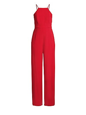 """Image of An elegant dress alternative in pebbled jacquard, with a fitted halter bodice and fluid wide legs. Halter neckline Sleeveless Seamed waist Slash pockets Wide leg Concealed back zip Lined About 55"""" from shoulder to hem Inseam, about 36"""" Nylon Dry clean Mad"""