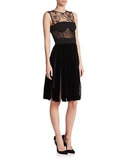 Oscar de la Renta - Lace & Velvet Dress