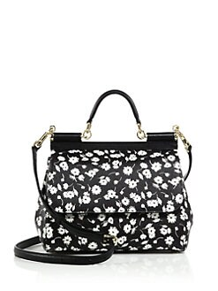 Dolce & Gabbana - Sicily Medium Floral Textured Leather Top-Handle Satchel