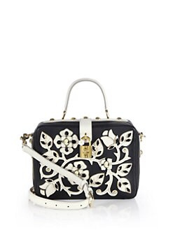 Dolce & Gabbana - Floral Cameo Two-Tone Leather Top-Handle Bag