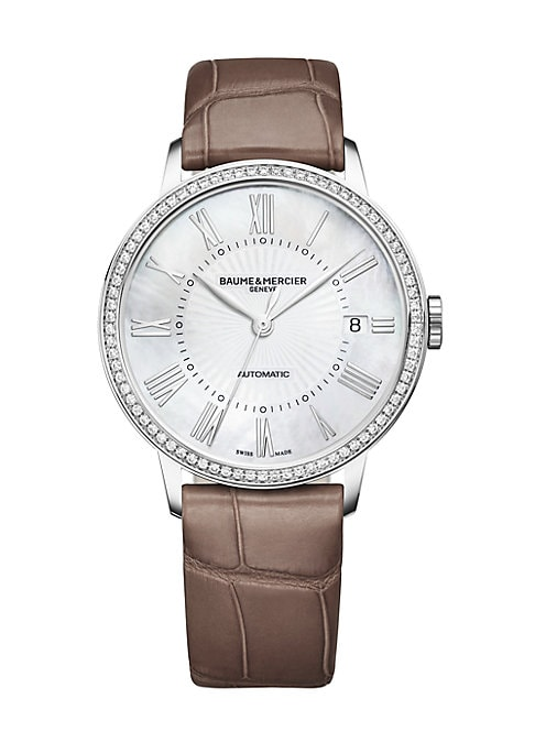 Image of From the Classima Collection. A combination of classic, refined accents - a pave diamond bezel, mother-of-pearl dial and taupe alligator strap - imbue the Classima with a quiet brand of luxury. This polished stainless steel design features Baume et Mercie