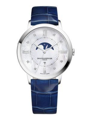 BAUME & MERCIER Classima 10226 Moonphase Diamond, Mother-Of-Pearl, Stainless Steel & Patent Alligator Strap Watch in Silver-Blue