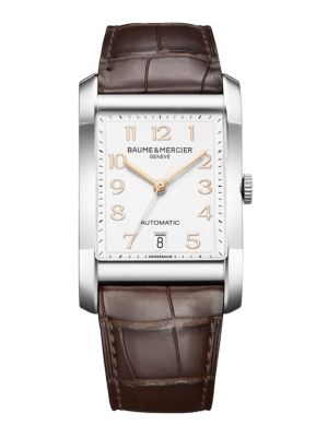 Hampton Stainless Steel & Brown Automatic Strap Watch