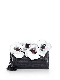 Nancy Gonzalez - Floral Crocodile Chain Shoulder Bag
