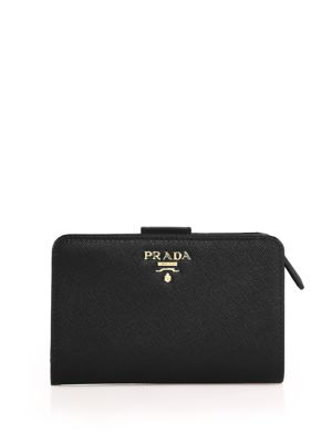 Medium Saffiano Leather Tab Wallet by Prada