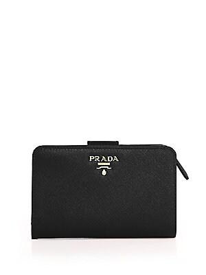 beca63ca0fe1d5 Prada - Medium Saffiano Leather Tab Wallet - saks.com