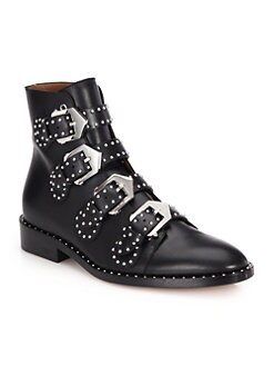 Givenchy - Studded Leather Buckled Ankle Boots