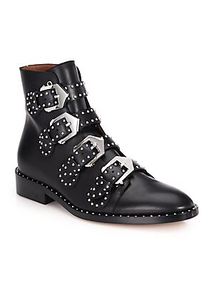 669f22426db Givenchy - Studded Leather Buckled Ankle Boots