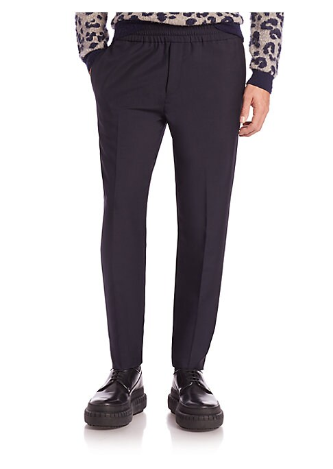 """Image of A lustrous wool and mohair blend lend refined style to these dressed-up track pants, finishes with a pleated front and an elasticized waist. Elasticized waist. Zip fly. Side slash pockets. Back welt pocket. Inseam, about 31"""".Wool/mohair. Dry clean. Import"""