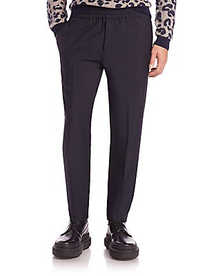 """Image of A lustrous wool and mohair blend lend refined style to these dressed-up track pants, finishes with a pleated front and an elasticized waist. Elasticized waist Zip fly Side slash pockets Back welt pocket Inseam, about 31"""" Wool/mohair Dry clean Imported. Me"""