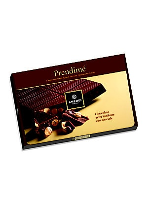 "Image of Divine dark chocolate bar with rich hazelnuts. 10""W X 1""H X 7""D 17.25 oz. Shelf life: 6 months Made in Italy. Drop Ship Prgrm - Food. Amedei."