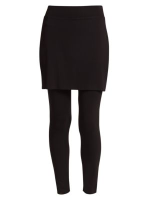 "Image of Wardrobe-essential leggings are updated with a skirt overlay, for an effortless all-in one style. Elasticized waist. Skirt overlay. Pull-on style. Rise, about 12"".Inseam, about 26"".Skirt length, about 17"".Viscose/spandex. Machine wash. Made in USA."