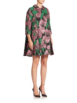 Erdem - Kira Floral Brocade Swing Coat