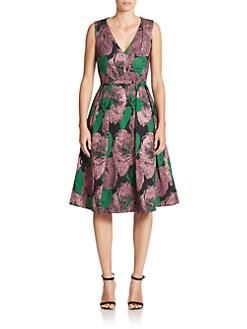 Erdem - Kuni Floral Brocade Flared Dress