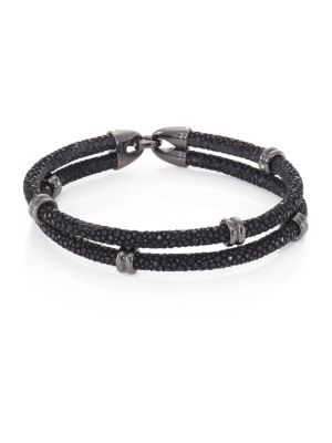 STINGHD Blackened Silver & Stingray Wrap Bracelet