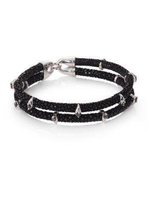 STINGHD Black Diamond, Silver & Stingray Wrap Bracelet