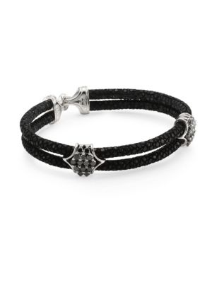 STINGHD Black Diamond, Silver & Stingray Peaked Wrap Bracelet
