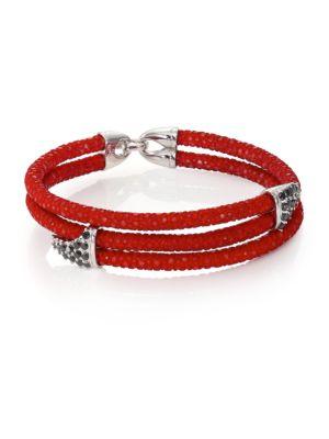 STINGHD Black Diamond, Silver & Stingray Shark Fin Wrap Bracelet in Red
