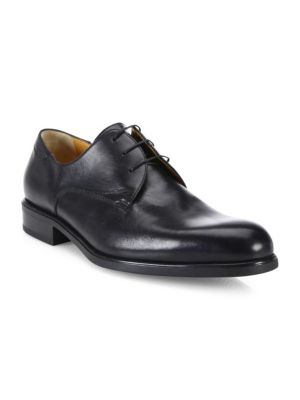 A. TESTONI Leather Lace-Up Derby Shoes in Nero