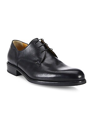 Image of Premium leather Derby shoes ensure comfortable stride Plain toe Leather upper Lace-up closure Leather lining Rubber sole Leather insole Made in Italy. Men's Shoes - Mens Classic Footwear. A. Testoni. Color: Nero. Size: 11 UK (12 US) W.